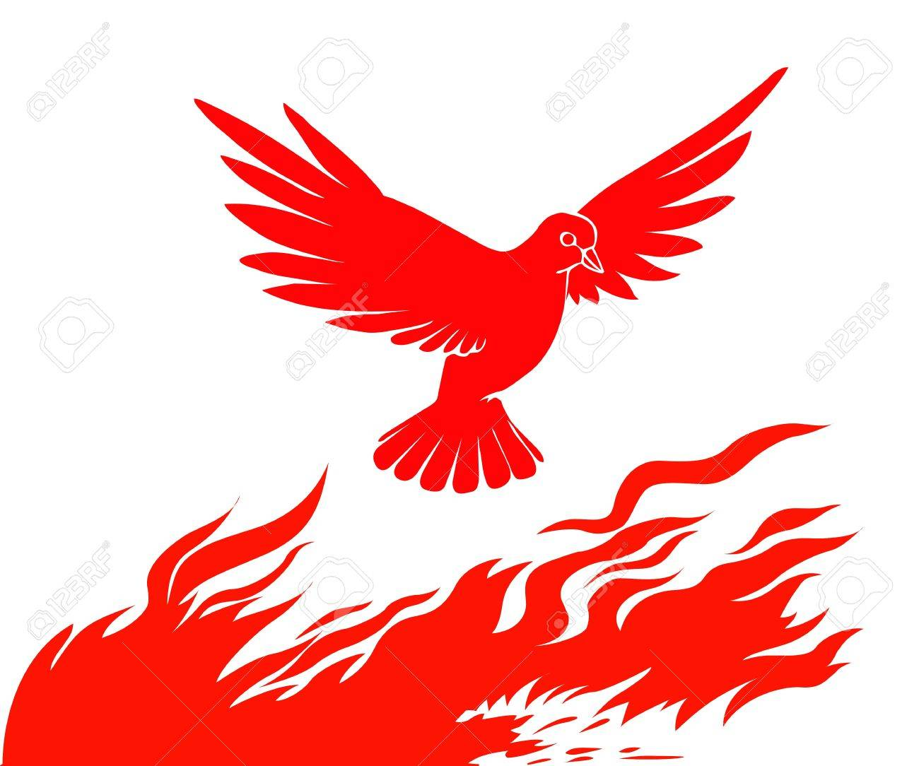 silhouette of the bird on fire on white background Stock Vector - 8768732