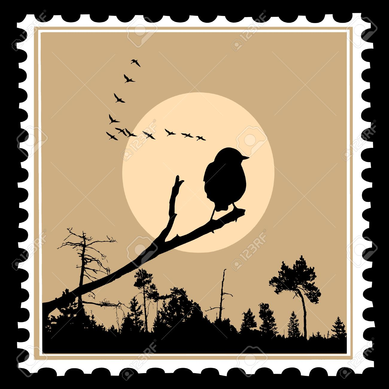 vector silhouette of the birds on postage stamps Stock Vector - 8922555