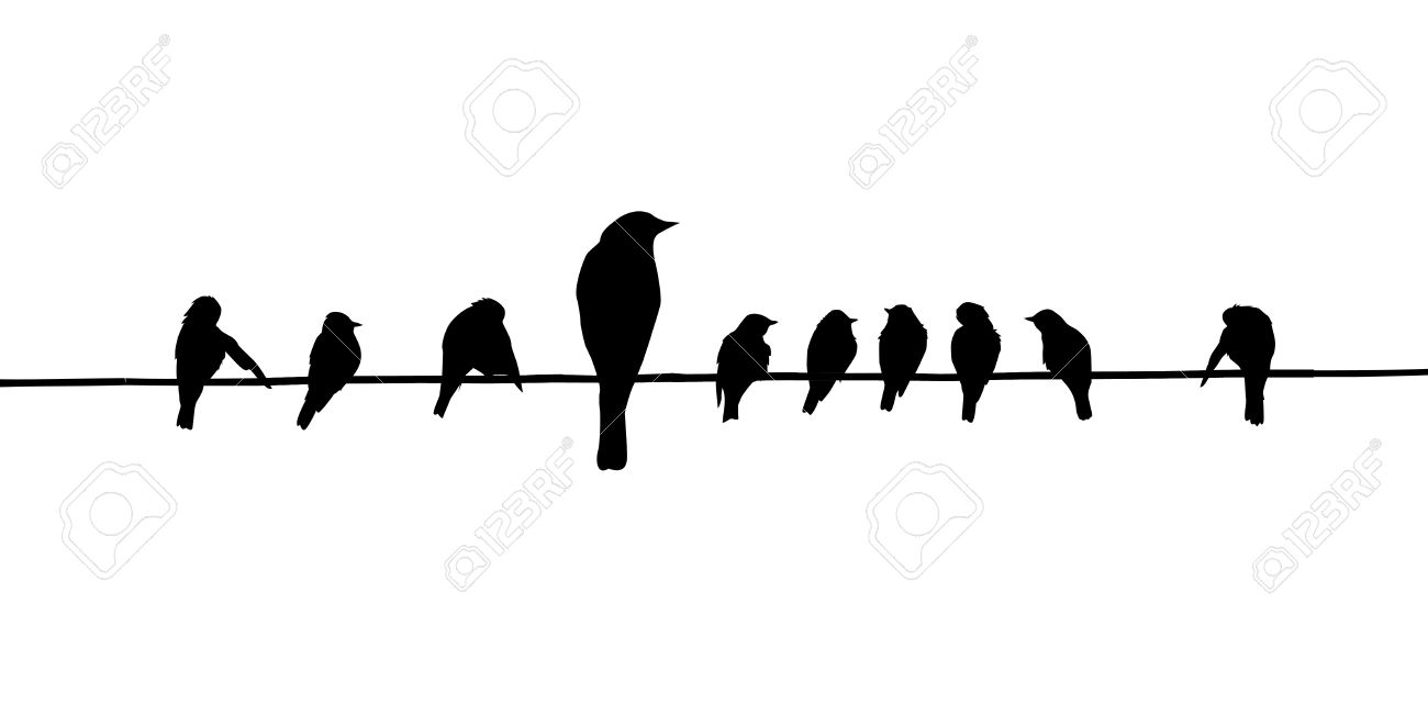 Bird On A Wire Silhouette Vector Center Free Schematic Diagram 1hz Up To 22mhz Generator Using Max038 Silhouettes Of The Birds Royalty Cliparts Rh 123rf Com Clip Art Love Branch