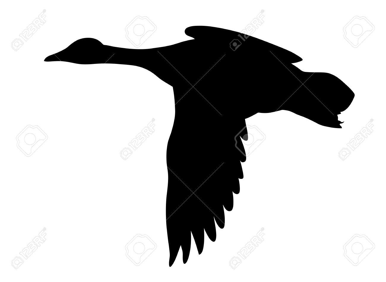 silhouette flying ducks on white background stock vector 9060387