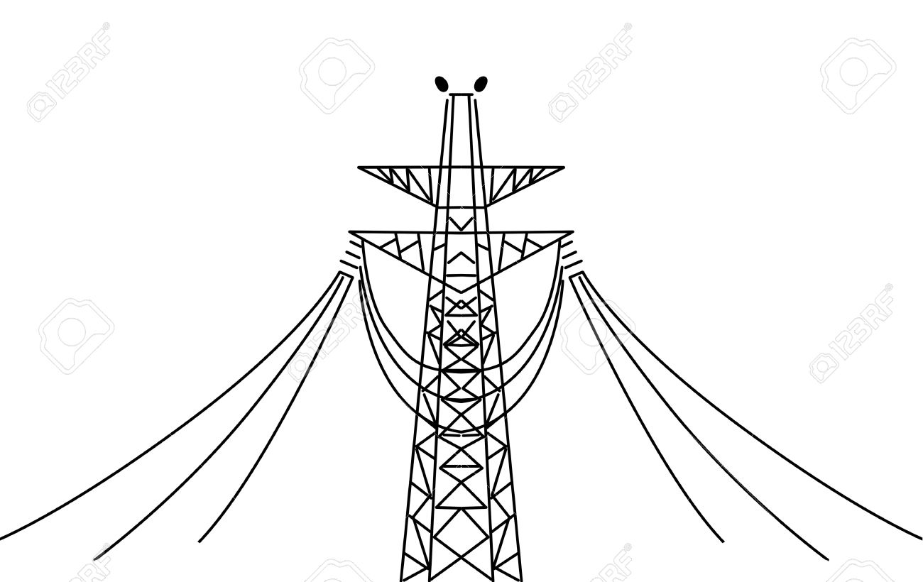 vector electric pole on white background Stock Vector - 11349858
