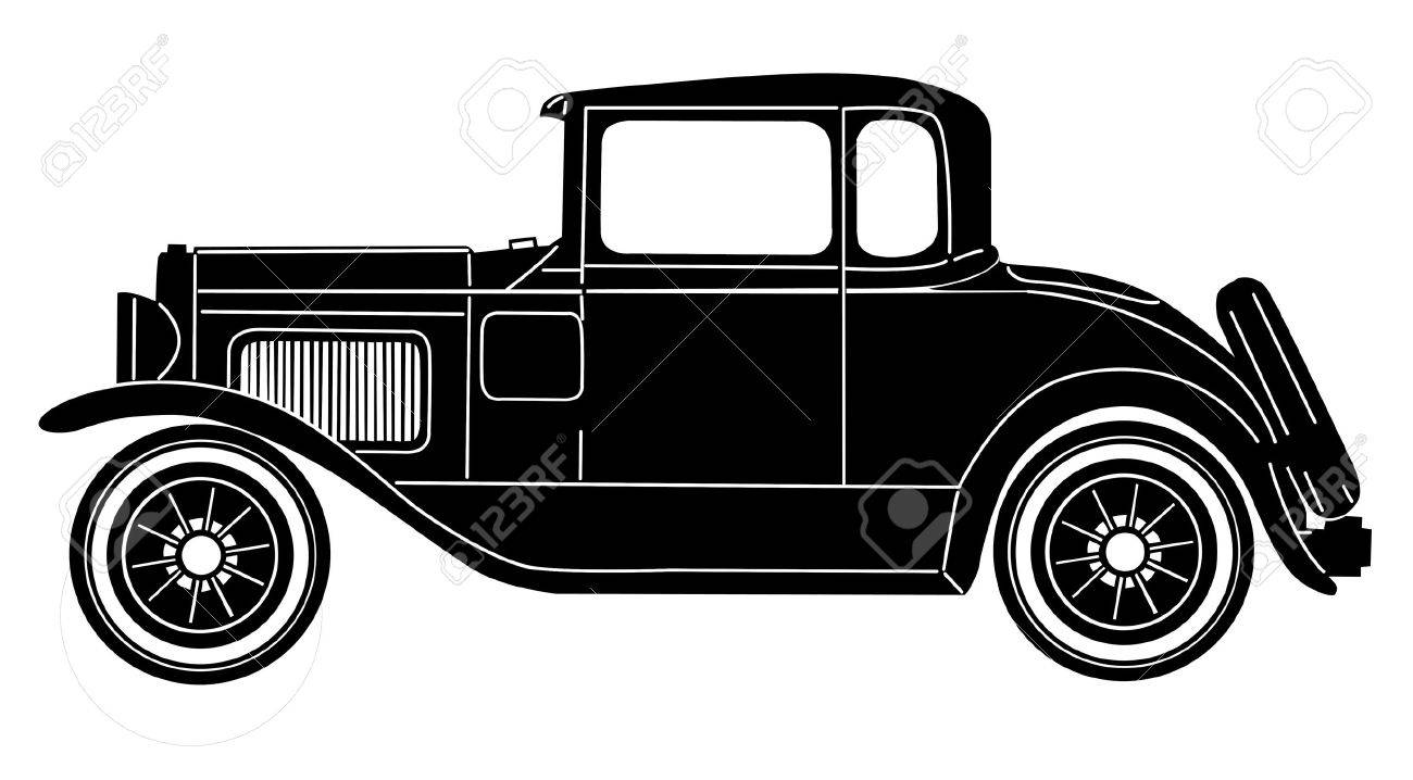 Retro Car On White Background Royalty Free Cliparts Vectors And