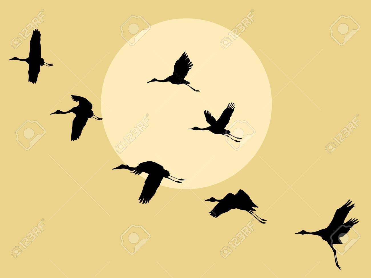 crane silhouette on solar background, vector illustration Stock Vector - 13033167