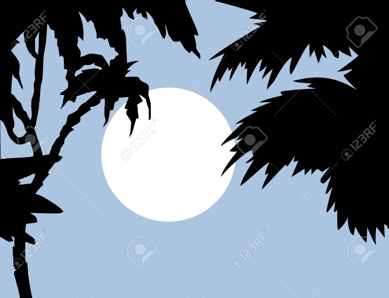 tropical landscape with palm on foregrounds, vector illustration Stock Vector - 13804026