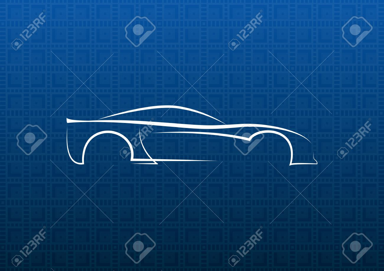 White car logo on blue texture background Stock Vector - 17254159