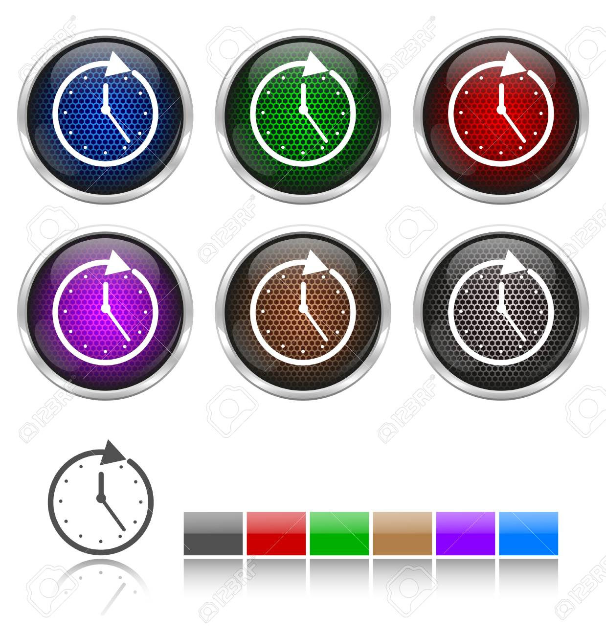 Colorful honeycomb watch icon Stock Vector - 17316330