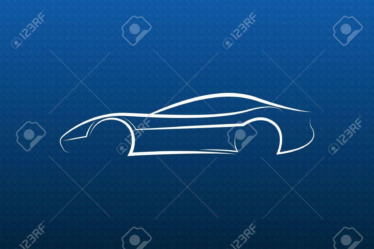 White car logo on blue texture Stock Vector - 18775724