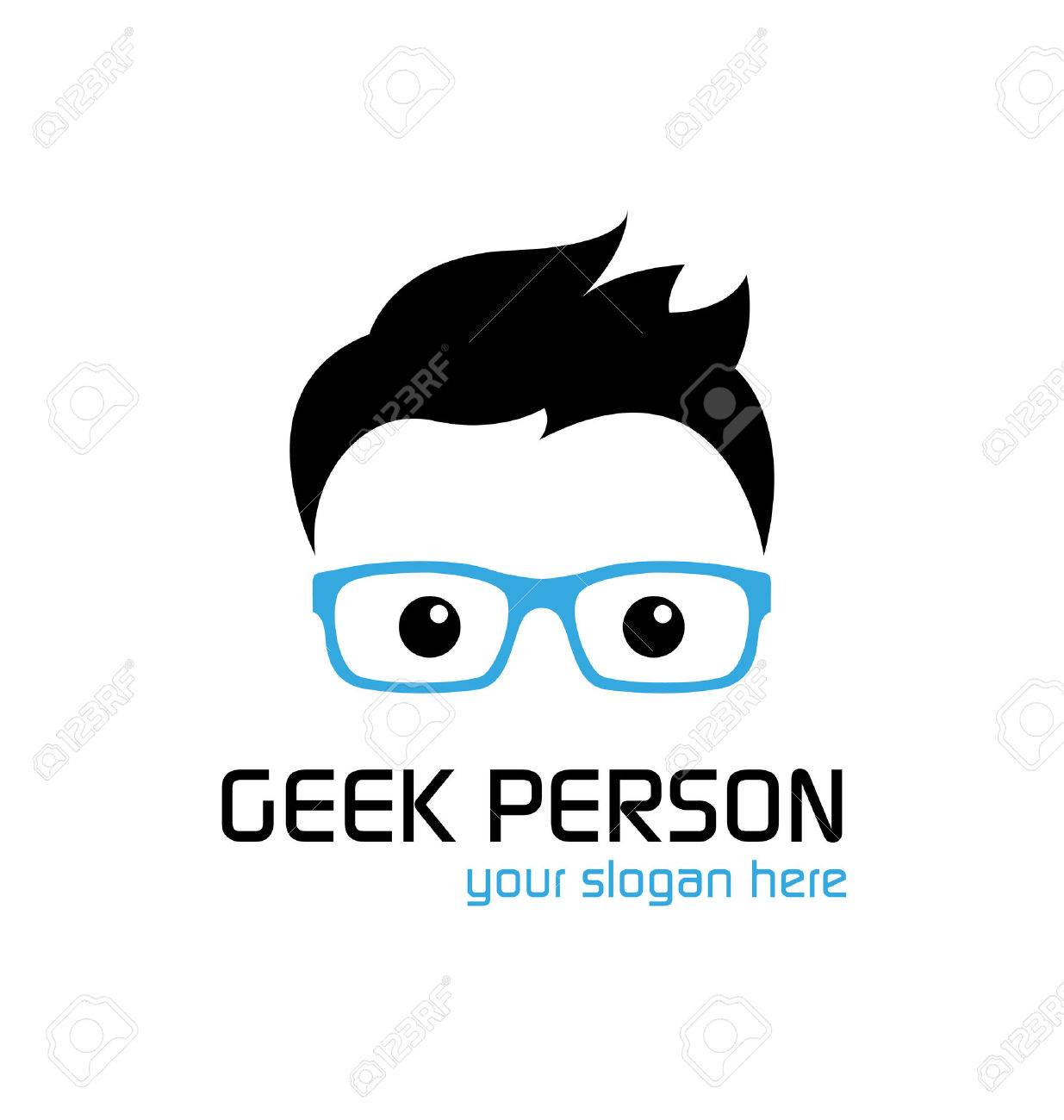 Geek Person Logo Template Royalty Free Cliparts Vectors And Stock