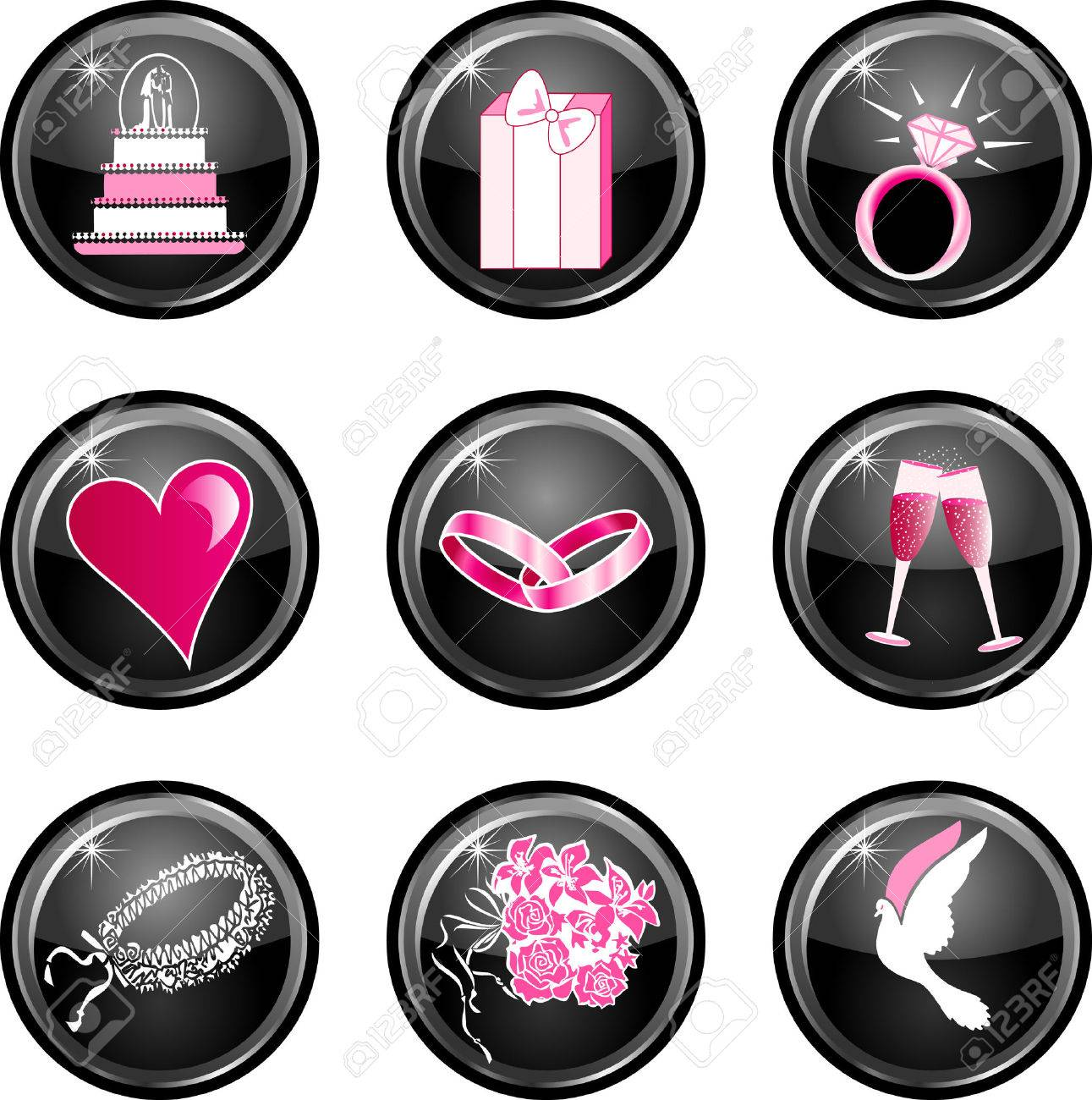 Nine black glossy wedding web icons with hot pink. Stock Vector - 5278182