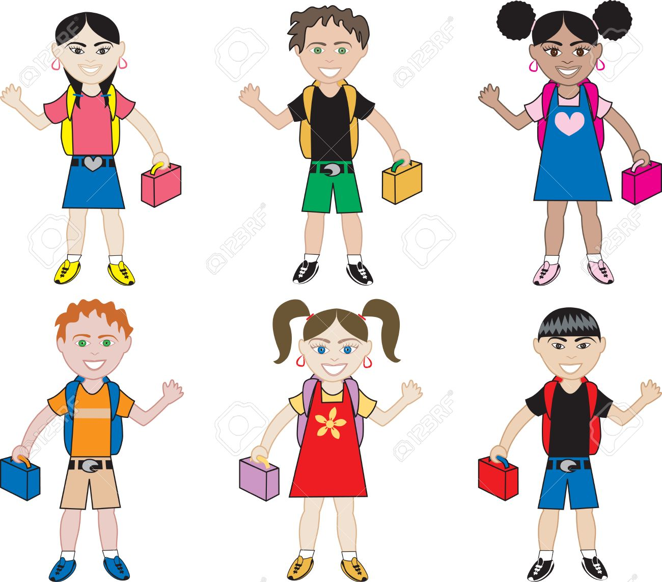 Little Kids of all races ready for school with their backpacks on. Stock Vector - 5330144