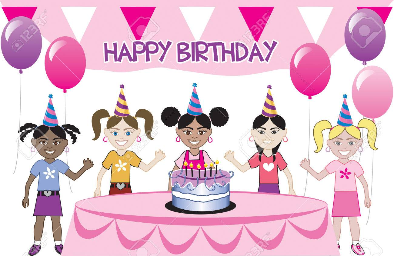 A birthday party with cake. Five young happy kids celebrating. Can be used as an invitation. Available in all girls, all boys and mixed group of kids. Stock Vector - 5413234