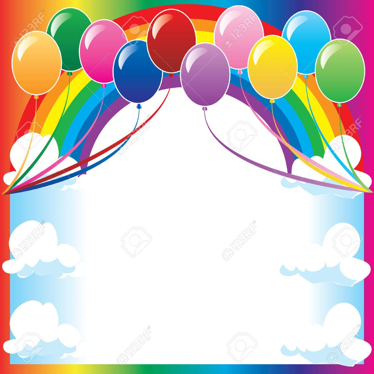 10 colors of balloons, available with different backgrounds. Vector Illustration. Stock Vector - 5413230
