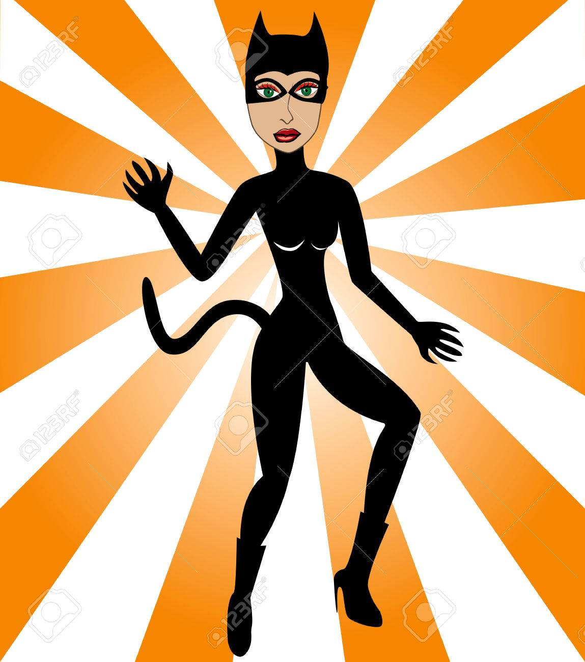 Halloween Cat Woman. Cat Woman Costume can be used for Halloween and/or party. Stock Vector - 5463829