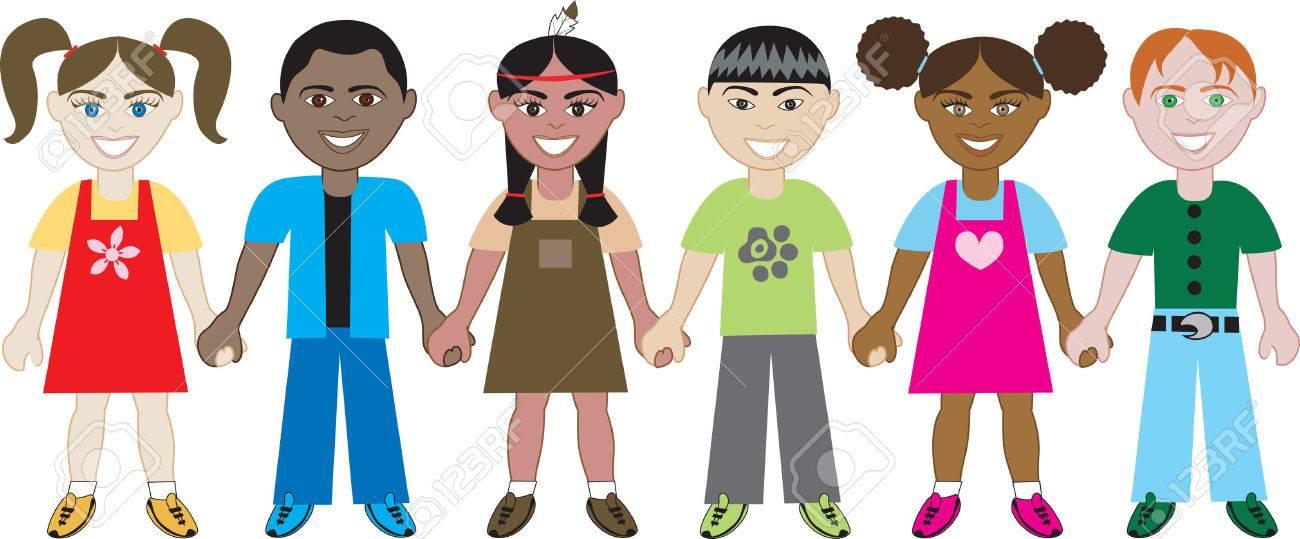 Enfants Tenant Par La Main 1. Six Enfants Du Monde Entier Main ...
