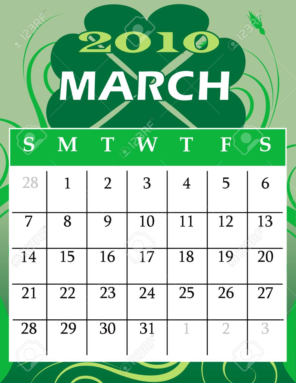 Illustration of 2010 Calendar Stock Vector - 5716596