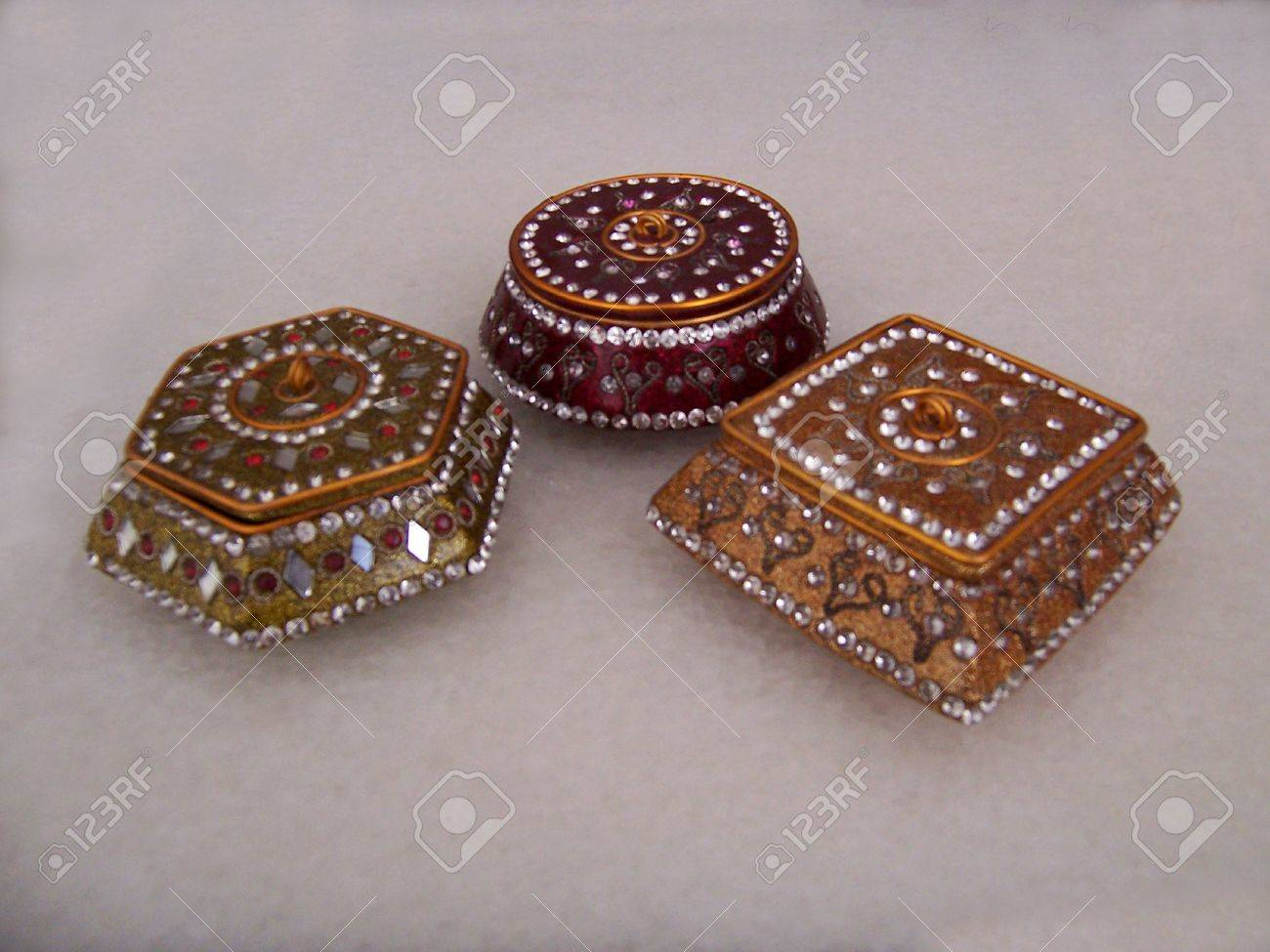 Decorative Metallic Glitter Gift Or Jewelry Boxes Indian Style
