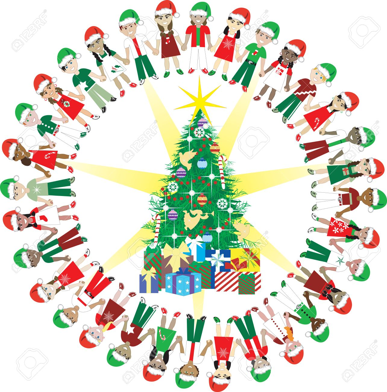 kids love christmas world 2 32 different children representing rh 123rf com Christmas around the World Printables Holidays Around the World Clip Art