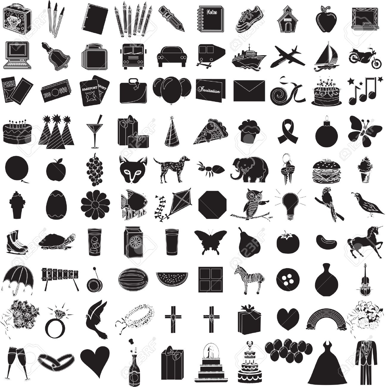 Vector Illustration of 100 Icon Objects with outlines. Everything from holiday to supplies. Stock Vector - 5997968