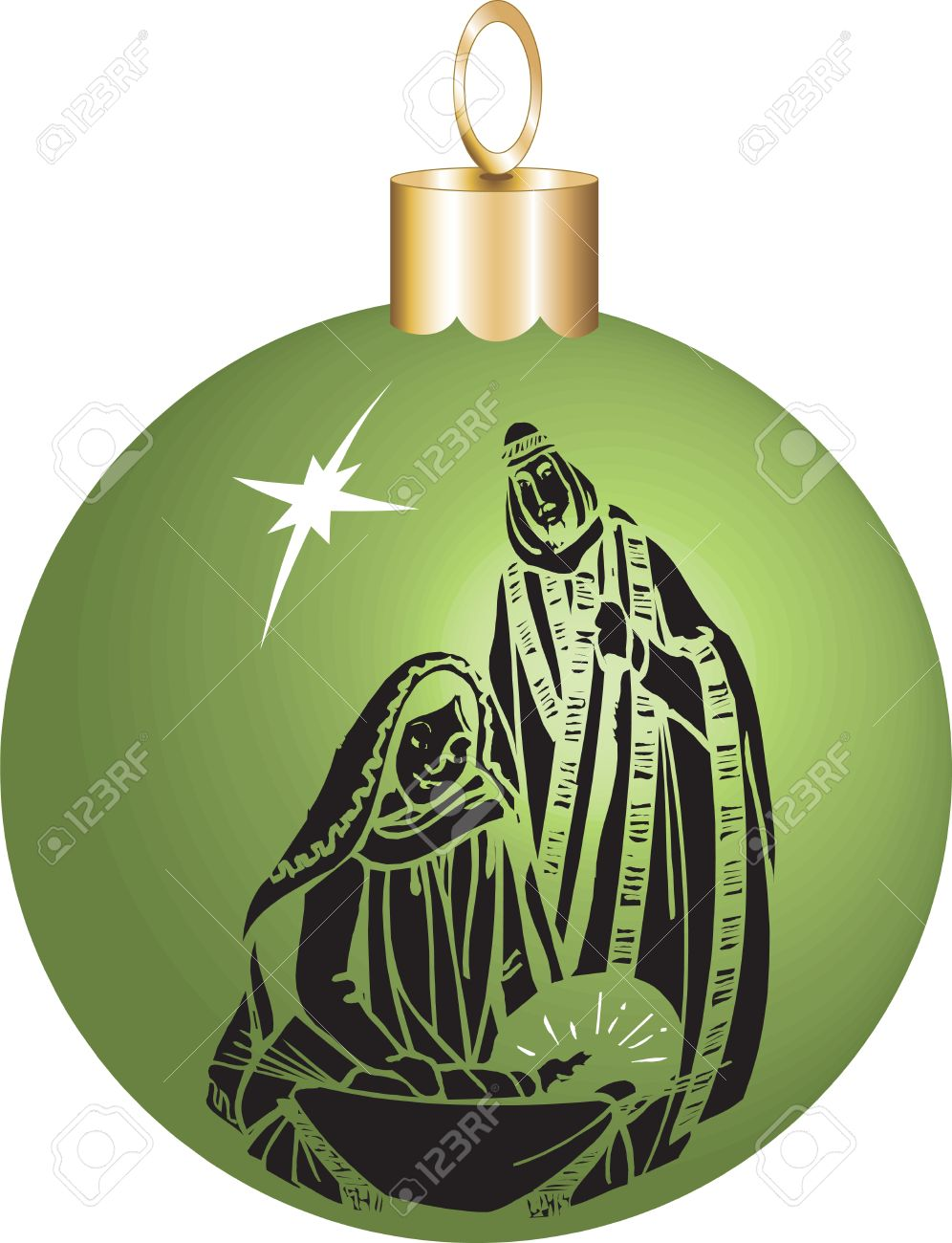 Vector Illustration Nativity Christmas Ornament With Baby Jesus ...