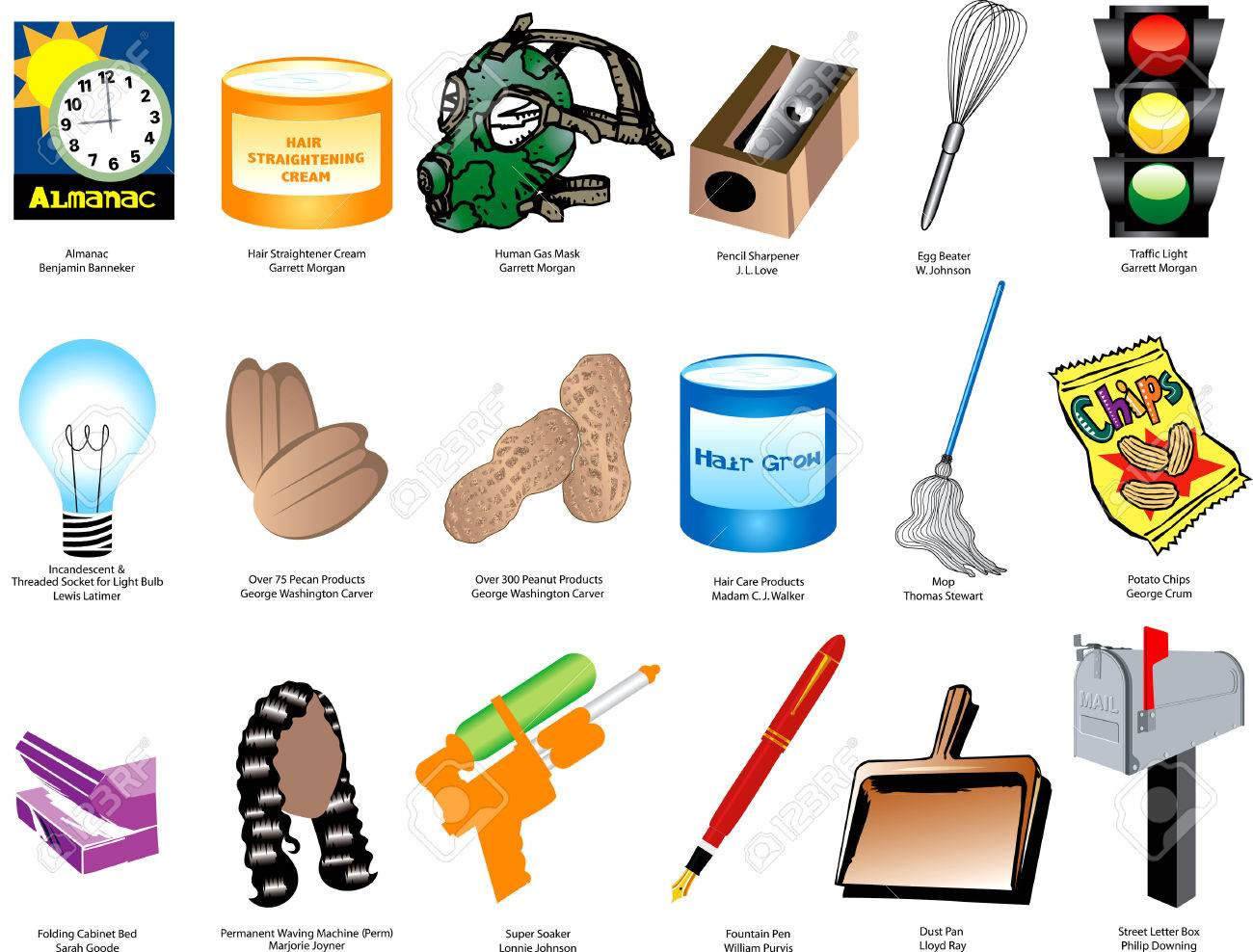 Illustration Of Inventions And Inventors For Black History Month Also Available Without Names Royalty Free Cliparts Vectors And Stock Illustration Image 6350293