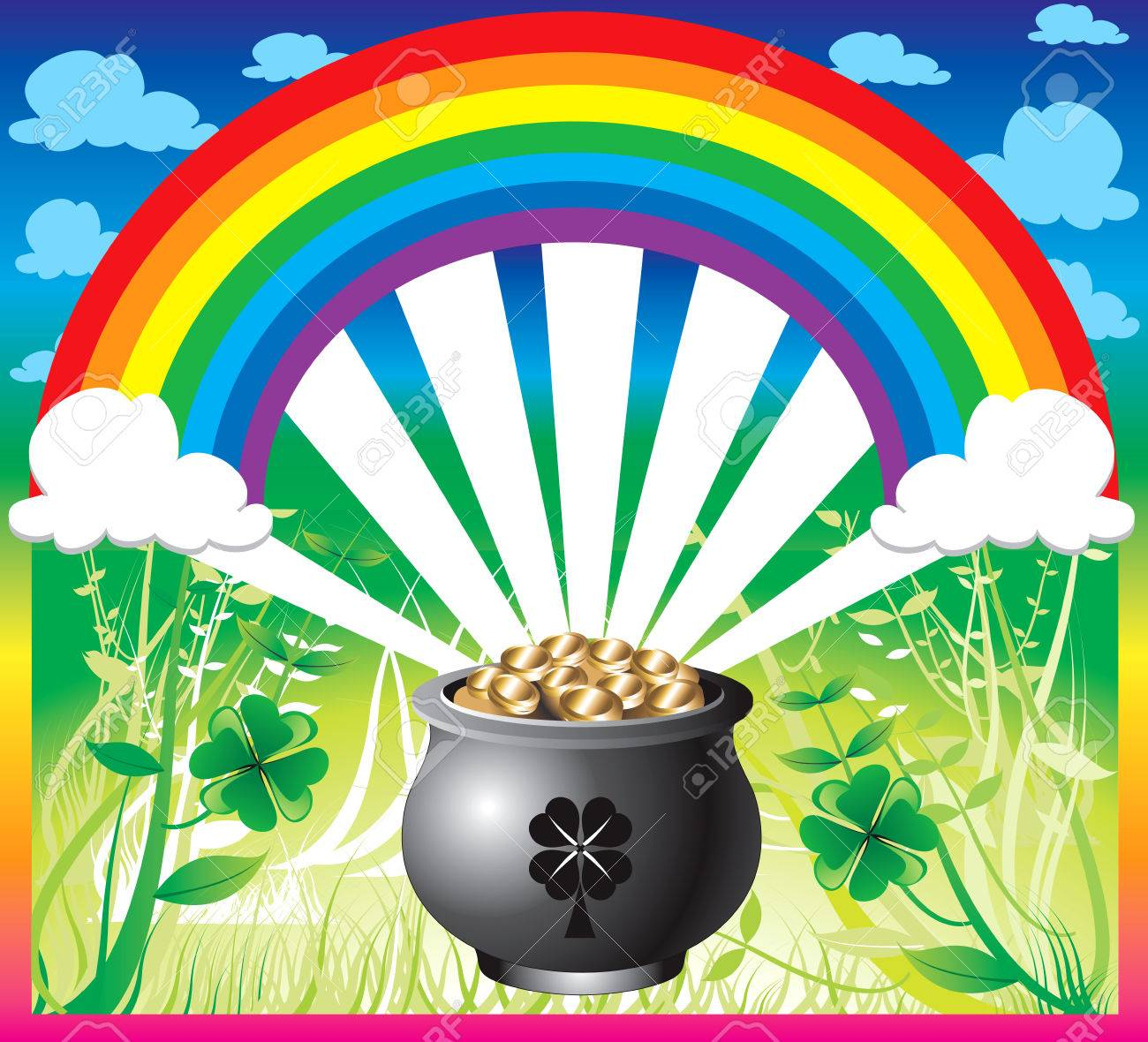 Illustration of pot of gold rainbow with a colorful background and a place for text or imagery. Stock Vector - 6472129