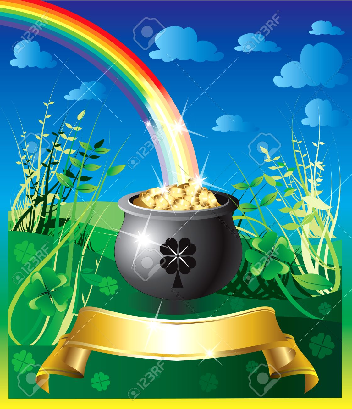 Illustration of pot of gold rainbow with a colorful background and a place for text or imagery. Stock Vector - 6472131