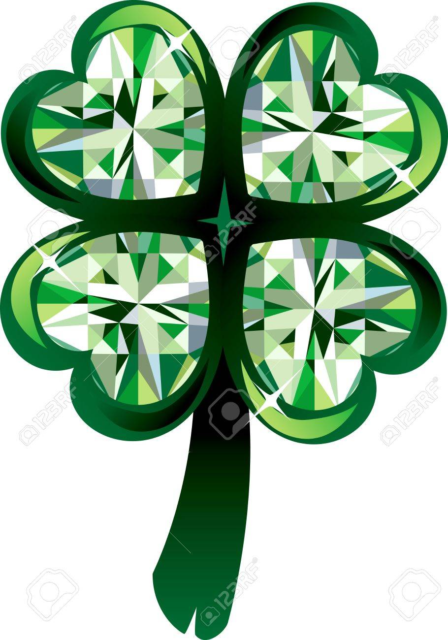 illustration of diamond four leaf clover shamrock st patrick u0027s