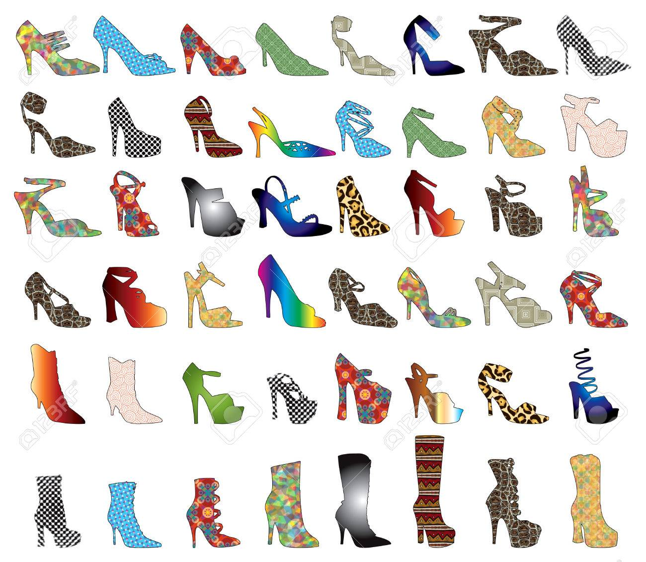 48 patterned shoes. Shoe Silhouettes 3. Stock Vector - 6544745