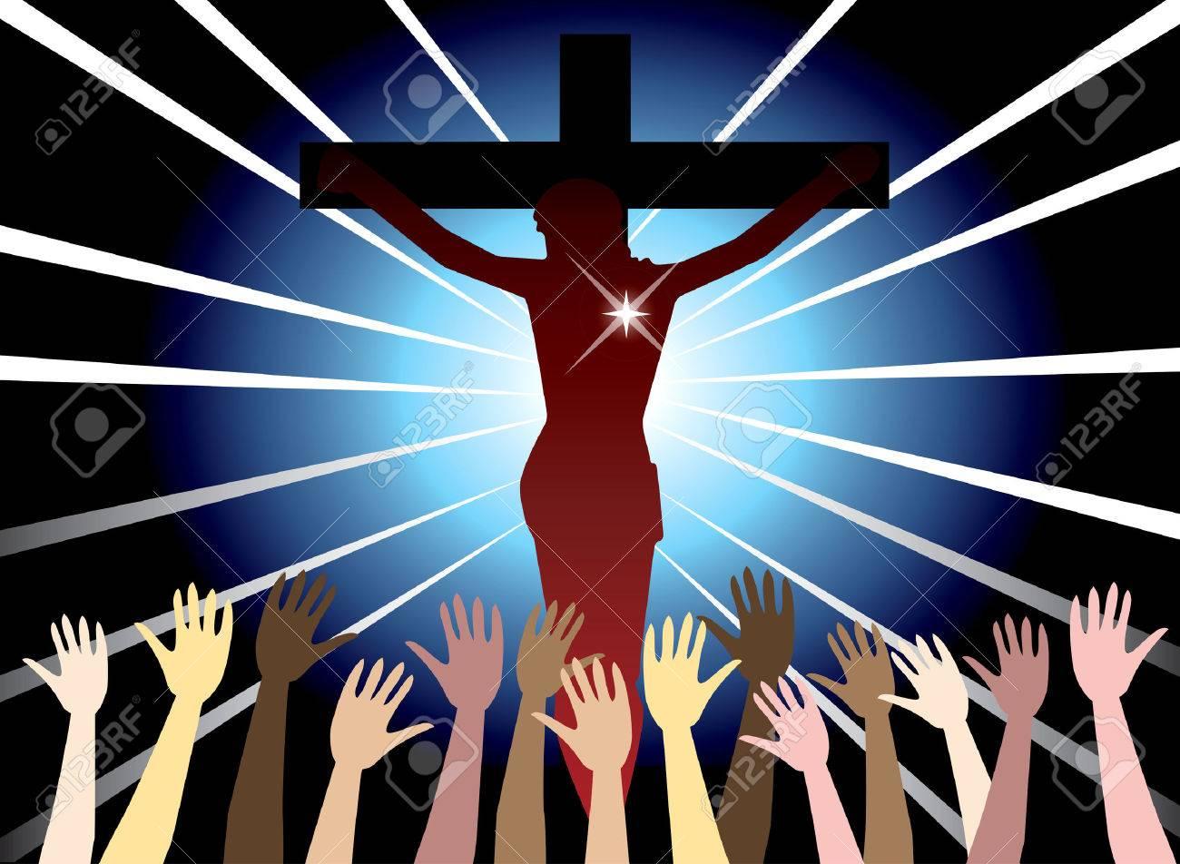 illustration of jesus christ on cross easter resurrection