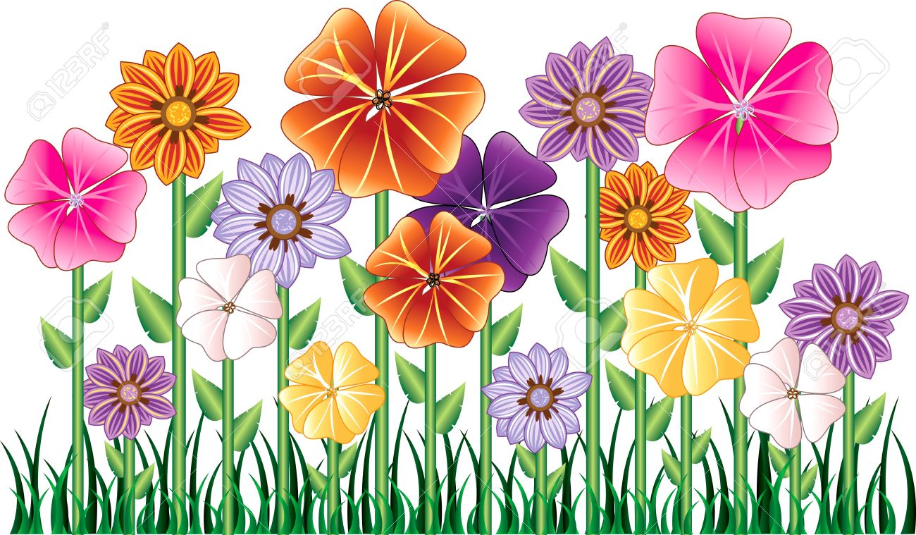 illustration of a Flower Garden with grass. Easy to move elements. Stock Vector - 6959863