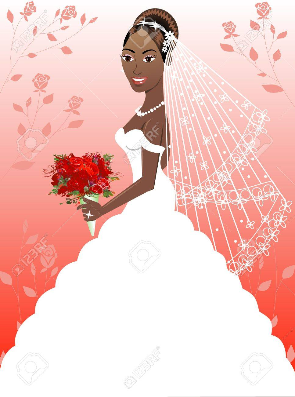 Una Hermosa Mujer Negra En El Día De Su Boda. Vestido De Boda 4 ...