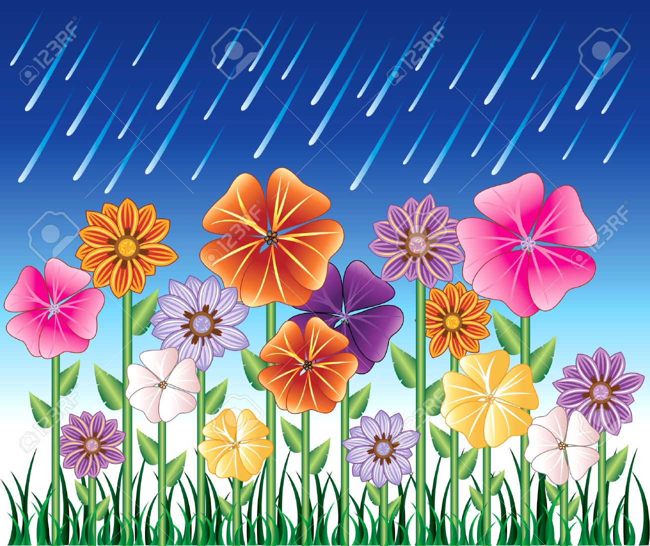 illustration of a Spring Day 2 with Rain and Flower Garden with grass. - 7091822