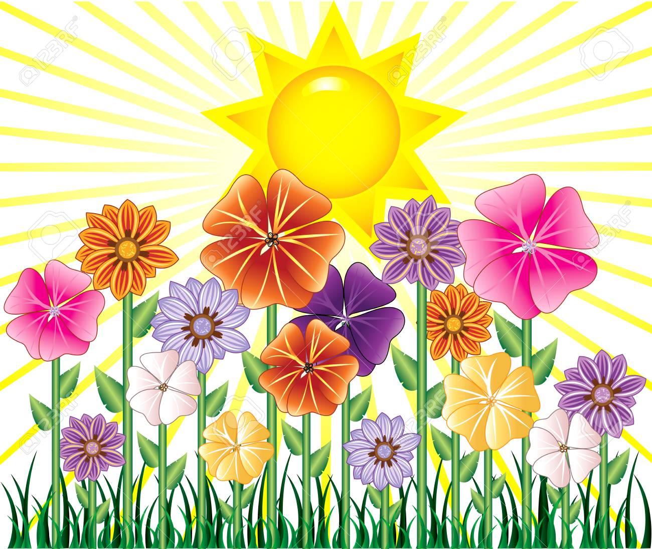 Ilustración De Un Día De La Primavera Con Sunshine Y Flor De Jardín