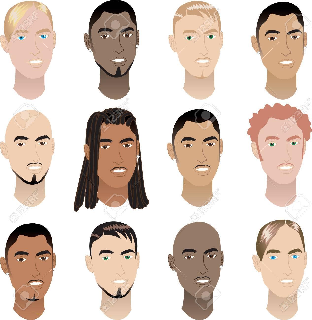 12 人の男の顔のイラスト。男性の顔 # 3。 ロイヤリティフリー