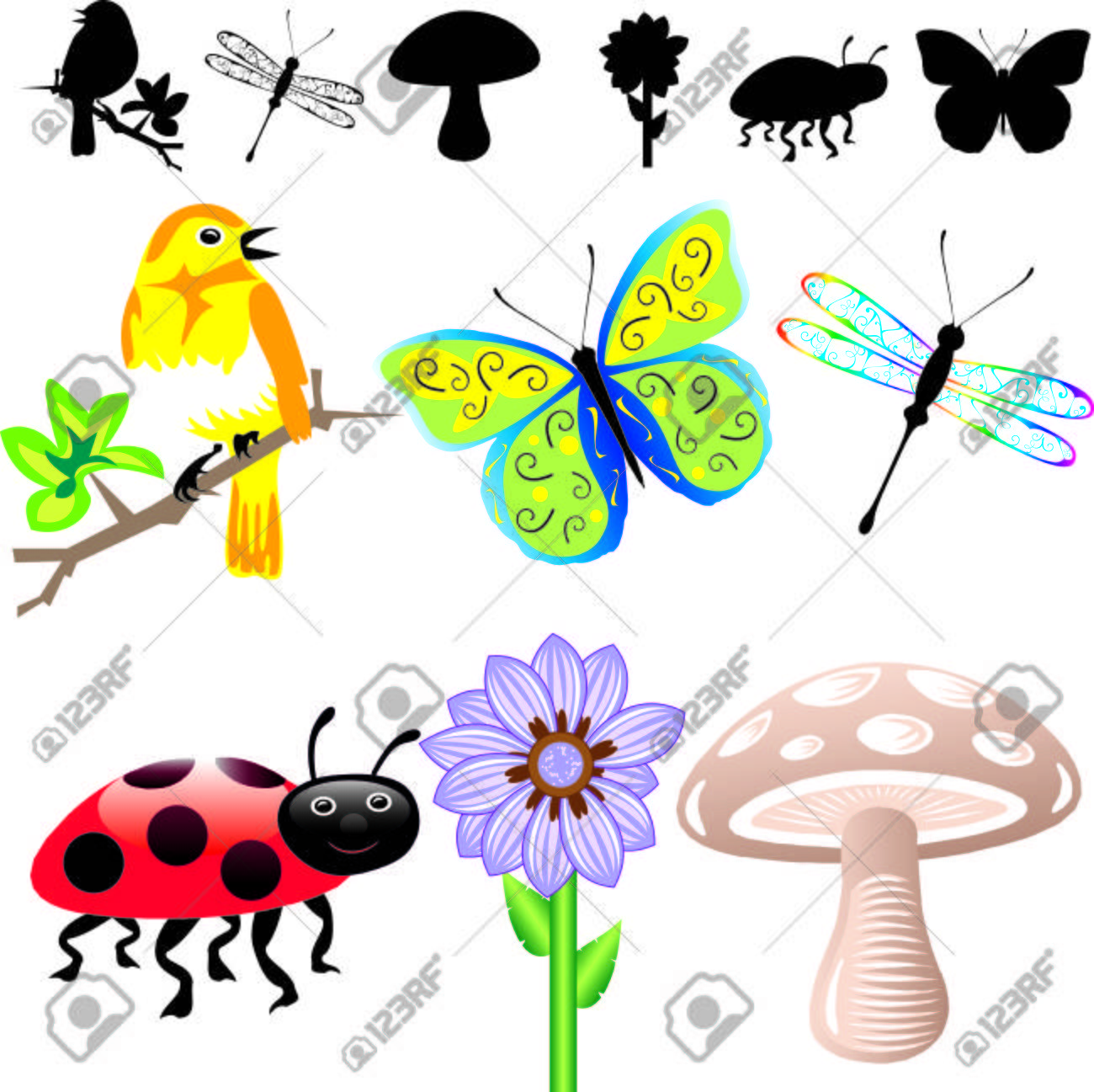 Illustration of 6 Spring Summer Icons and silhouettes. Easy to edit elements. Stock Vector - 7234145