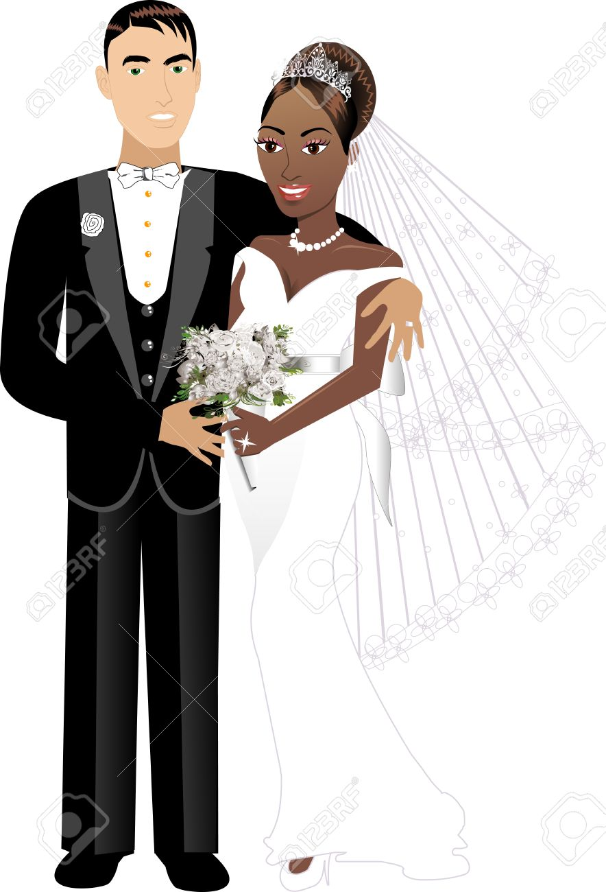 Newly Weds interracial couple 1 Stock Vector - 7545069