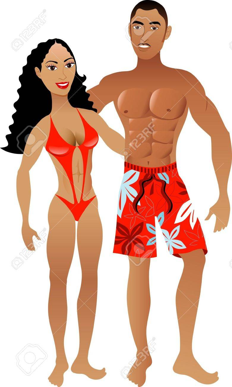 Vector Illustration. Fit Athletic Muscular Couple 1. Stock Illustration - 7678053
