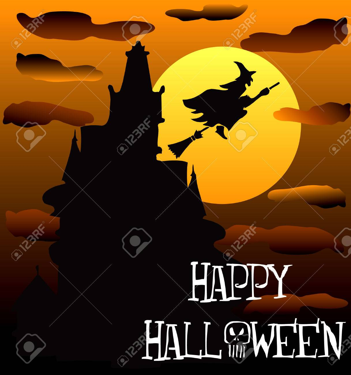Illustration Of A Happy Halloween Haunted House 2 Royalty Free Cliparts Vectors And Stock Illustration Image 7879166