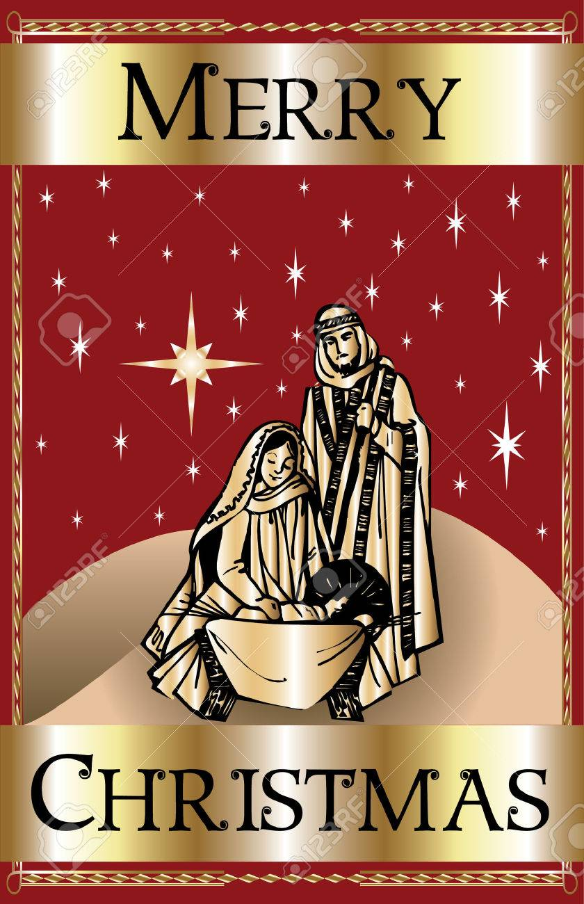 A Merry Christmas Red Nativity. Royalty Free Cliparts, Vectors ...