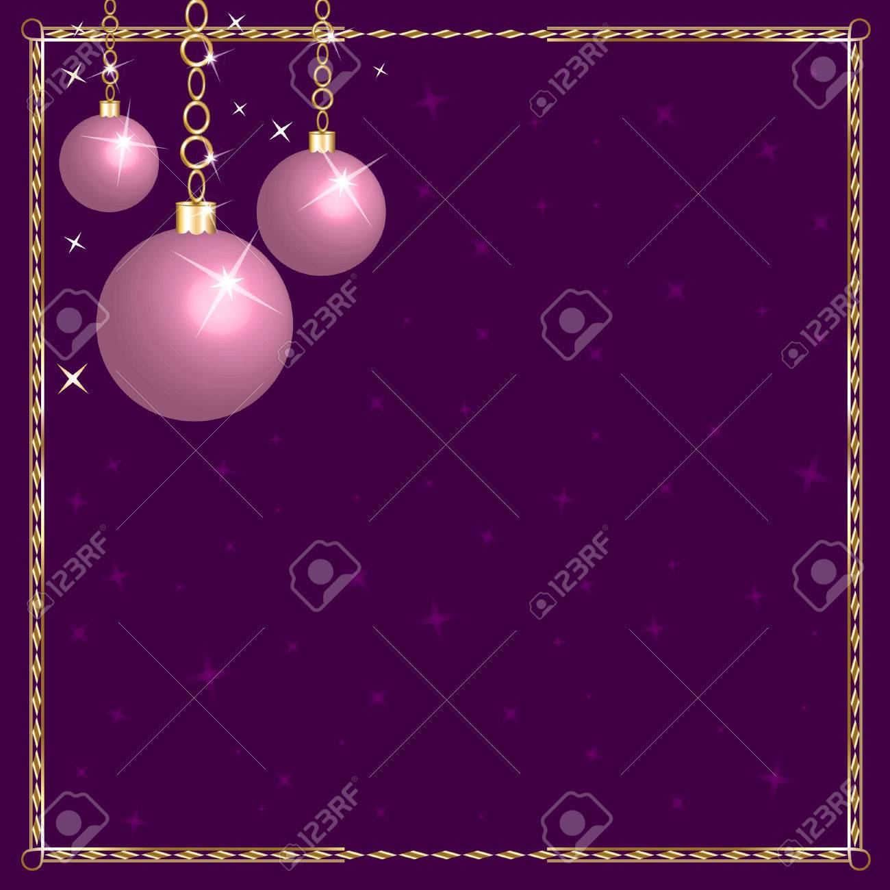Lavender christmas ornaments - Christmas Pink Purple Ornaments Stock Vector 7976845