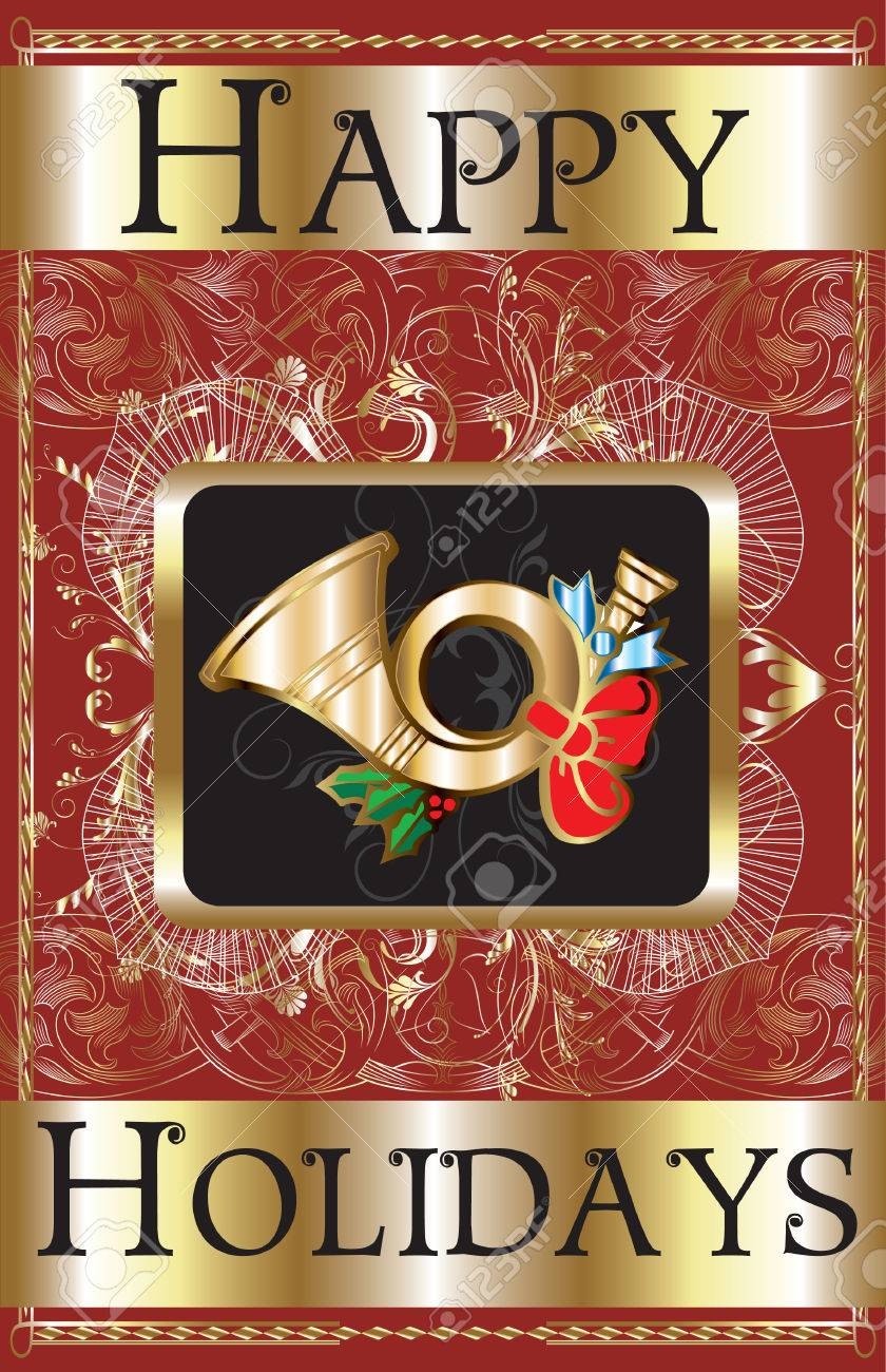Happy Holidays Gold Horn Poster. Stock Vector - 7976844