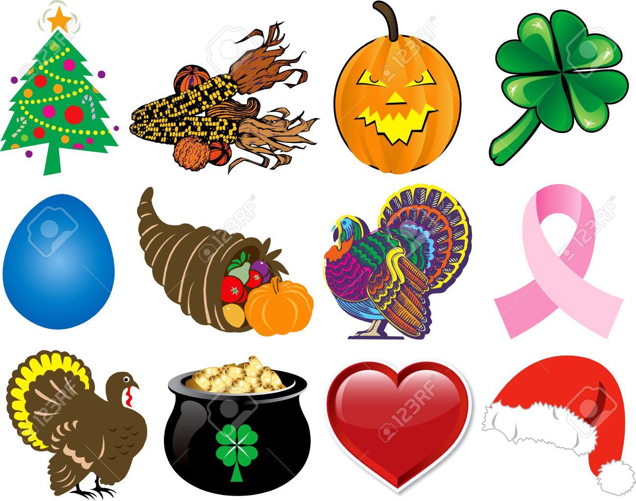 Set of 12 Holiday Icons. Stock Photo - 8128838