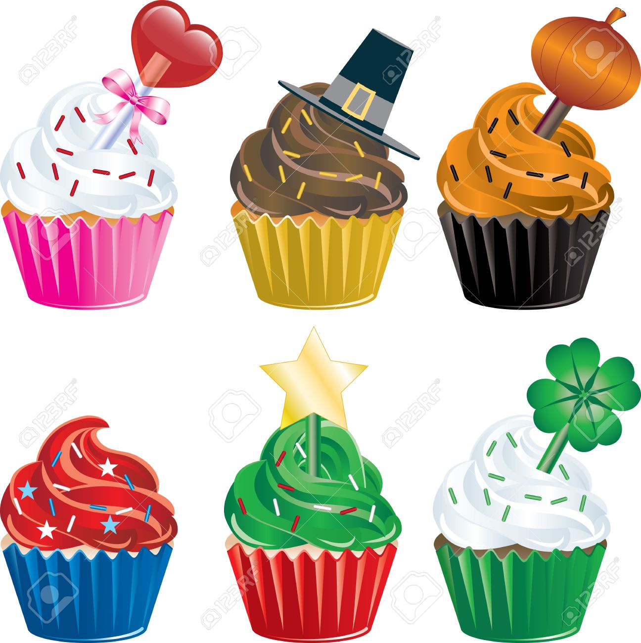 six different Holiday Cupcakes. Christmas, Halloween, Thanksgiving, Valentines Day , Independence Day and St. Patricks Day. Stock Vector - 8484330