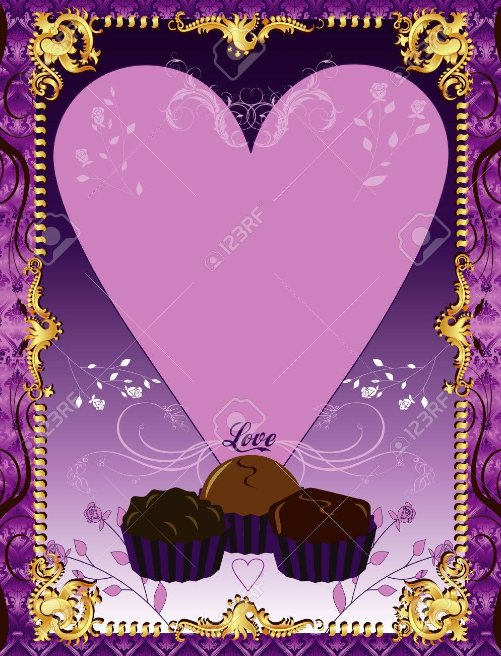 Illustration. A template background Purple Chocolate Card or invitation. May add photo and/or text. Stock Vector - 8764983