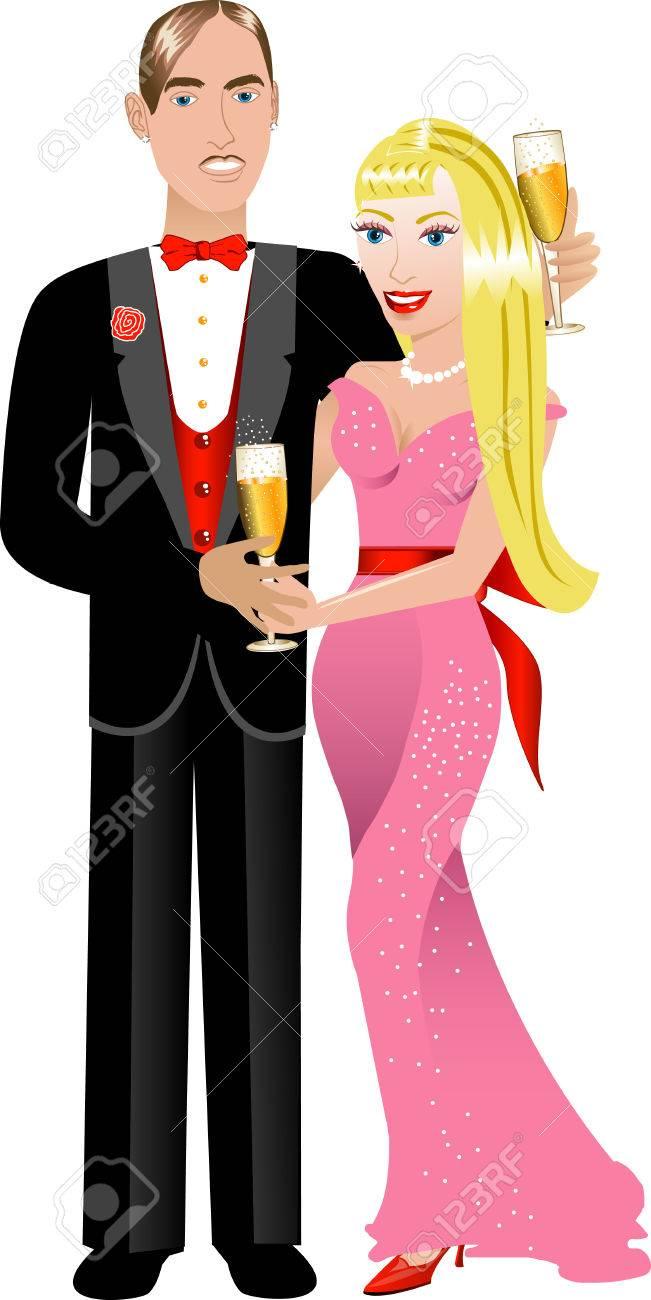 Vector Illustration. A beautiful Valentine Couple 2. Stock Vector - 8922458