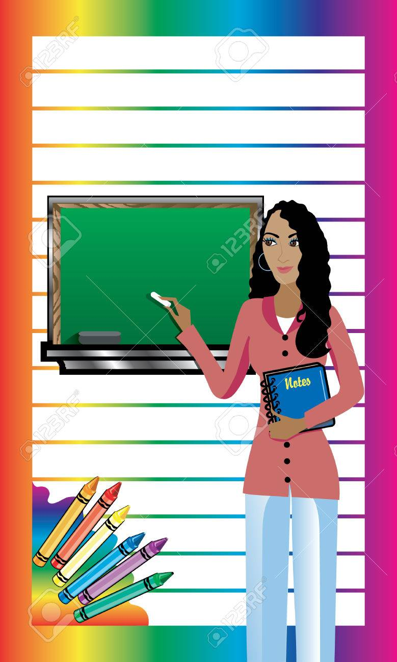 Business Card. Teacher with Chalkboard and notebook. There is room for text. See others in this series. Stock Vector - 9137397