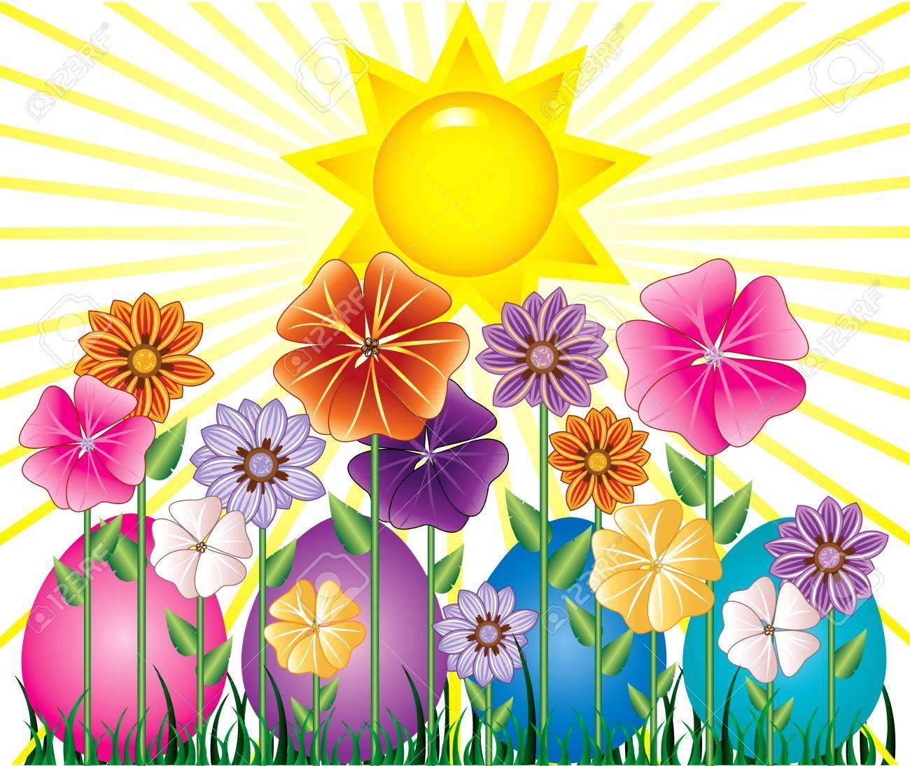 Vector illstration of a Spring Day with Sunshine and Easter Egg Garden with grass. - 9274980