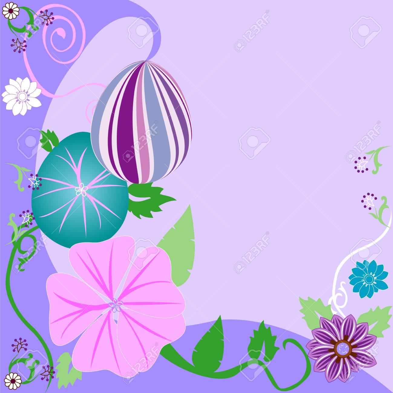 Vector Illustration of Easter Egg Floral Background. Stock Vector - 9274978