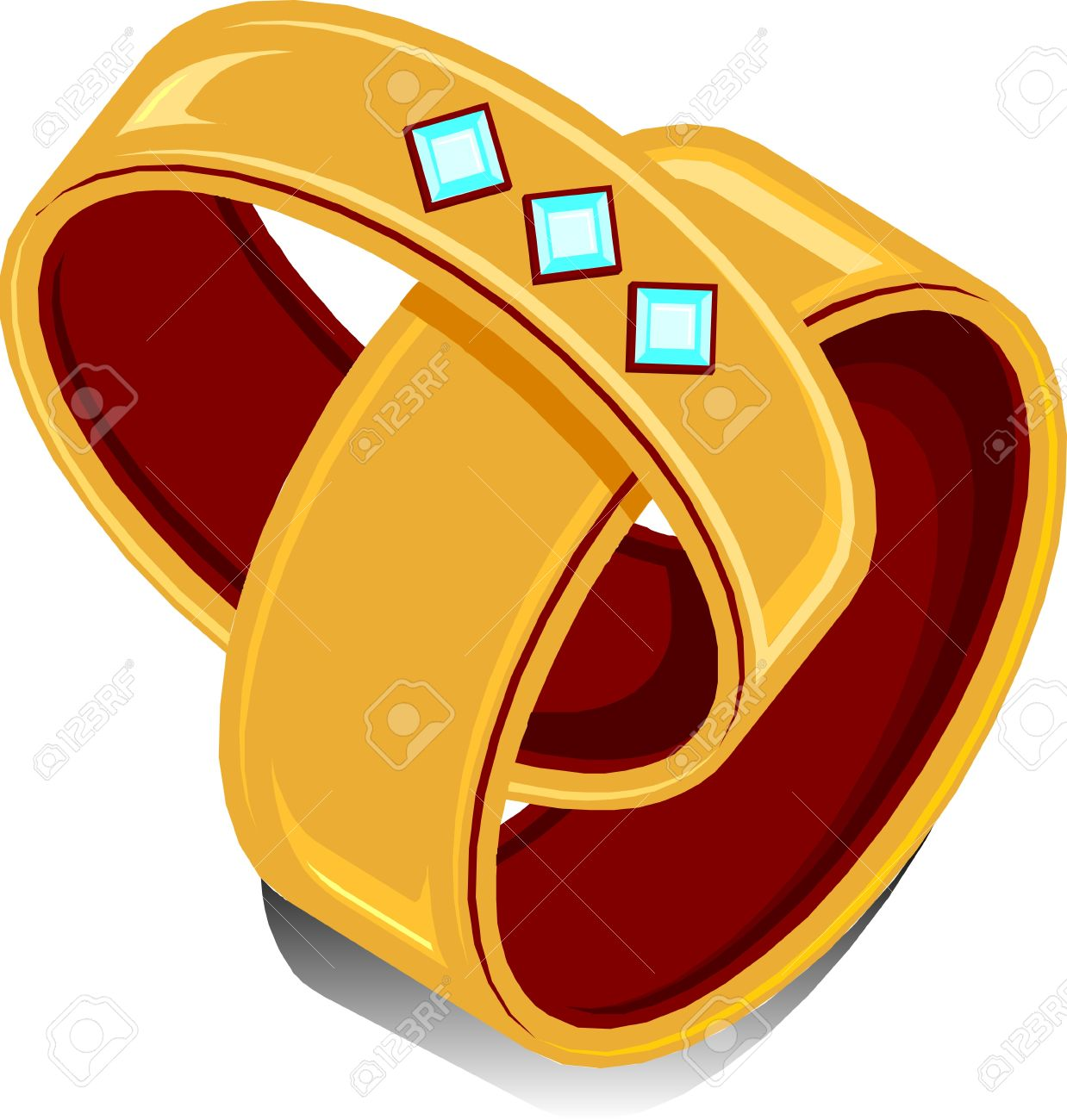 two wedding rings linked together royalty free cliparts vectors
