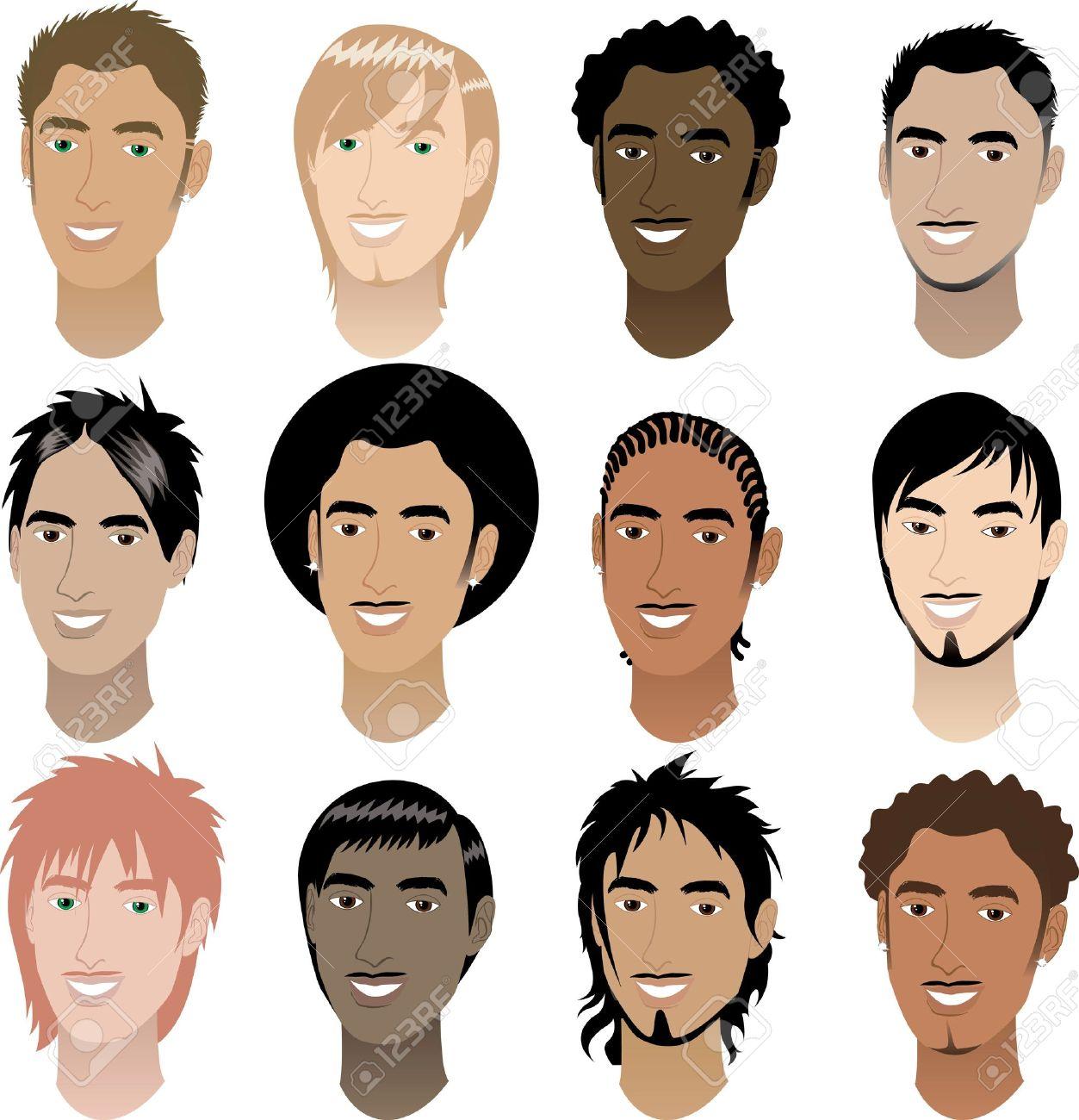 Vector Illustration of twelve Men Faces # 4. Stock Vector - 9718903